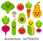 cute cartoon smiling vegetables ... | Shutterstock .eps vector #637906594