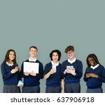 group of diverse students using ... | Shutterstock . vector #637906918