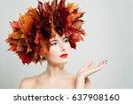 autumn woman woman showing... | Shutterstock . vector #637908160