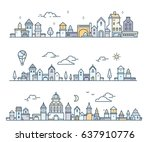 set of urban european white... | Shutterstock .eps vector #637910776