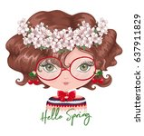 cute girl vector design... | Shutterstock .eps vector #637911829