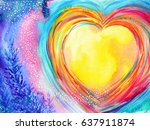 Yellow Moon Heart Watercolor...