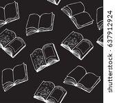 books seamless pattern on the... | Shutterstock .eps vector #637912924