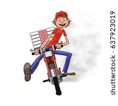 boy working the pizza delivery. ... | Shutterstock .eps vector #637923019