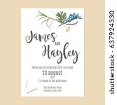 minimalistic botany wedding... | Shutterstock .eps vector #637924330