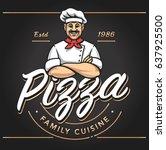 pizzeria emblem design with... | Shutterstock .eps vector #637925500