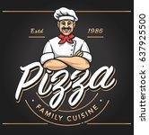 pizzeria emblem design with...   Shutterstock .eps vector #637925500