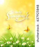 sunny day and lettering hello... | Shutterstock .eps vector #637925848