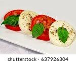 italian cuisine   salad capreze ... | Shutterstock . vector #637926304