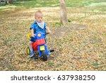 cute little asian 1 year old... | Shutterstock . vector #637938250