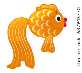 fabulous gold fish  isolated on ... | Shutterstock .eps vector #637946770