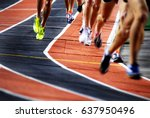 running a race on a track for... | Shutterstock . vector #637950496