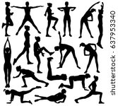collection of vector silhouette ... | Shutterstock .eps vector #637953340