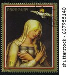 Small photo of RUSSIA KALININGRAD, 15 APRIL 2017: stamp printed by Paraguay, shows Painting Virgin with the Dove by Albrecht Durer, circa 1979