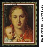 Small photo of RUSSIA KALININGRAD, 15 APRIL 2017: stamp printed by Paraguay, shows Painting Virgin with a Carnation by Albrecht Durer, circa 1979