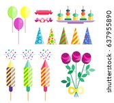 party icons celebration happy... | Shutterstock .eps vector #637955890
