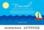 poster vector template with sea ... | Shutterstock .eps vector #637959328