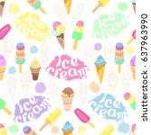seamless pattern of cartoon ice ... | Shutterstock .eps vector #637963990