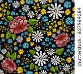embroidery seamless pattern...   Shutterstock .eps vector #637964284