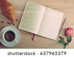 red rose and a cup of coffee... | Shutterstock . vector #637965379