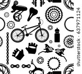 bike. bicycle parts. seamless... | Shutterstock .eps vector #637971124