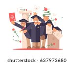 students happy at graduation... | Shutterstock .eps vector #637973680