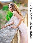 woman is wearing bridal luxury... | Shutterstock . vector #637975114