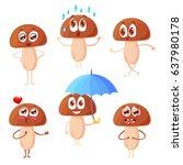 set of funny emotional... | Shutterstock .eps vector #637980178