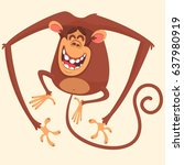 Stock vector  cute cartoon monkey character wild forest animal collection baby education isolated on white 637980919
