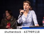frauke petry speaking at an afd ... | Shutterstock . vector #637989118