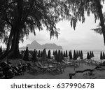 black and white rain and sea | Shutterstock . vector #637990678
