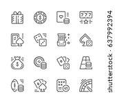 set line icons of gambling   Shutterstock .eps vector #637992394