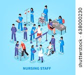 hospital staff nurses isometric ... | Shutterstock .eps vector #638000230