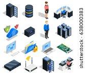 datacenter isometric icons... | Shutterstock .eps vector #638000383