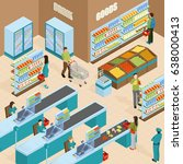 supermarket isometric design... | Shutterstock .eps vector #638000413