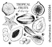 vector hand drawn exotic fruits.... | Shutterstock .eps vector #638002084