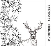 hand drawn forest template with ... | Shutterstock .eps vector #638007898