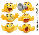 set of yellow cartoon smiley... | Shutterstock .eps vector #638009164