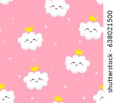 seamless pattern with cute... | Shutterstock .eps vector #638021500