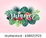 summer tropical vector design... | Shutterstock .eps vector #638021923