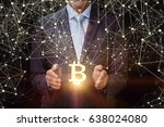 businessman shows bitcoin in... | Shutterstock . vector #638024080