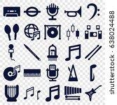 musical icons set. set of 25... | Shutterstock .eps vector #638024488