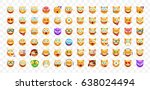 set of cute emoticons on... | Shutterstock .eps vector #638024494