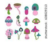 bright vector mushroom set | Shutterstock .eps vector #638029213