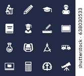 set of 16 studies icons set... | Shutterstock .eps vector #638030533