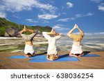 fitness  yoga and sport concept ... | Shutterstock . vector #638036254