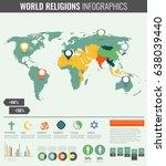 world religions infographic... | Shutterstock .eps vector #638039440