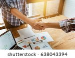 young businessmen collaborate... | Shutterstock . vector #638043394
