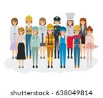 white background with big group ... | Shutterstock .eps vector #638049814