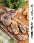 bean pate with garlic and thyme ... | Shutterstock . vector #638052328